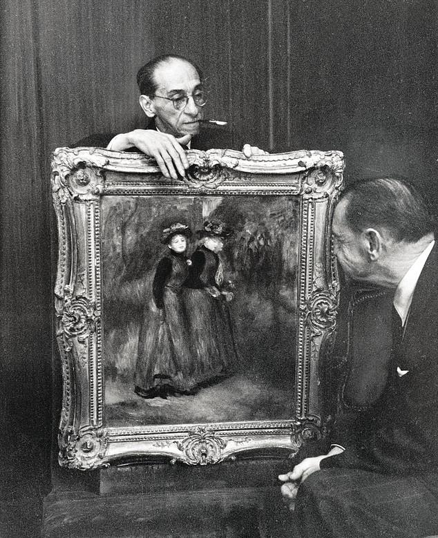 Paul Rosenberg (mit Zigarette)  in New York mit Somerset Maughan vor einem Renoir (Ausschnitt)